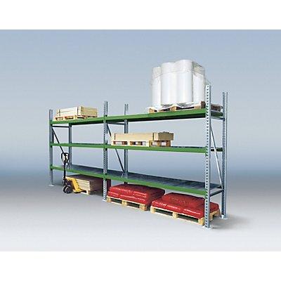 Weitspannregal-Kombination, mit verzinkten Stahleinlegeböden - Anbauregal, 3 Fachebenen, 1 Stützrahmen - HxBxT 2500 x 2770 x 800 mm