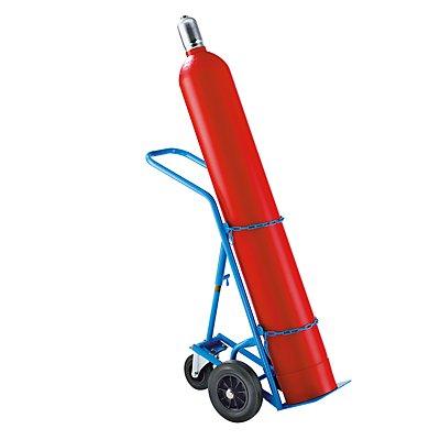 EUROKRAFT Stahl- / Gasflaschenkarre - für 1 Stahlflasche bis Ø 285 mm, mit Stützrad - Vollgummireifen