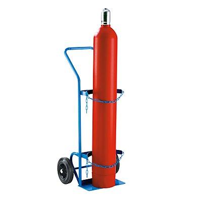 EUROKRAFT Stahl- / Gasflaschenkarre - für 1 Stahlflasche bis Ø 380 mm - Vollgummireifen