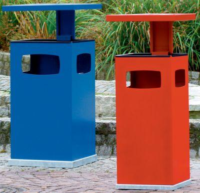 Abfallsammler für außen, mit Aschereinsatz und Schutzdach - Behälterinhalt ca. 80 l