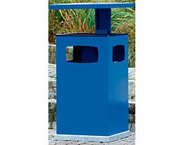 Collecteur de déchets pour l'extérieur, avec cendrier et toit de protection - capacité conteneur 80 l