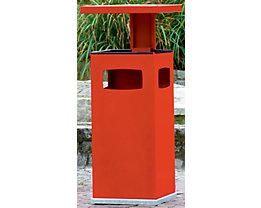 Abfallsammler für außen, mit Aschereinsatz und Schutzdach - Behälterinhalt ca. 38 l