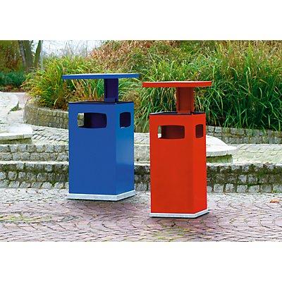 Collecteur de déchets pour l'extérieur, avec cendrier et toit de protection - capacité conteneur 38 l