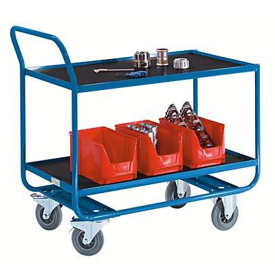 EUROKRAFT Tischwagen, Tragfähigkeit 250 kg - 2 Etagen, MDF-Platte, mit Abrollrand, LxB 1020 x 590 mm