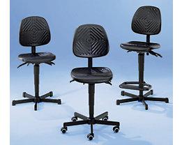 Chaise de travail pivotante rembourrée de mousse en polyuréthane, hauteur réglable par lift à gaz - avec patins