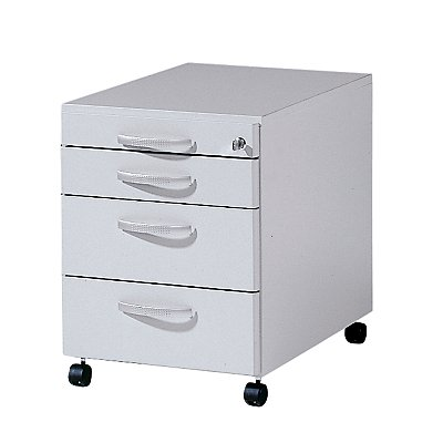 Wellemöbel BASIC-II Büro-Rollcontainer - 3 Materialschübe, Tiefe 600 mm