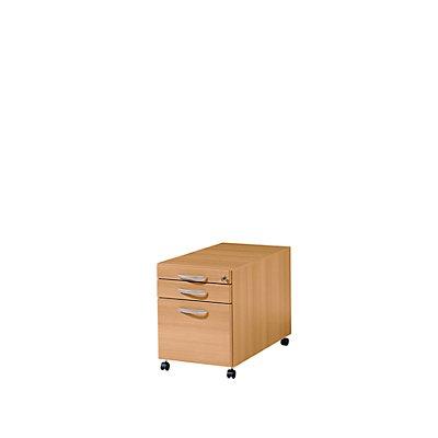 Wellemöbel BASIC-II Rollcontainer - mit Materialschub und Hängeregistratur, Tiefe 600 mm
