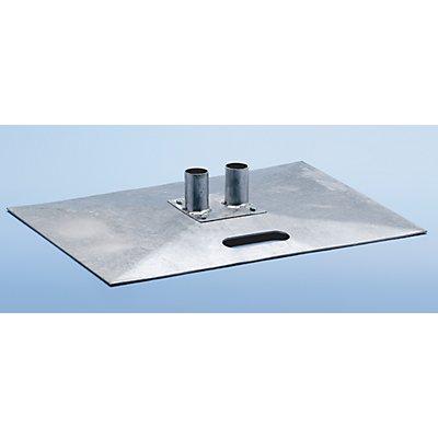Stahl-Fußplatte, verzinkt - für Mobilzaun - Länge x Breite 700 x 500 mm