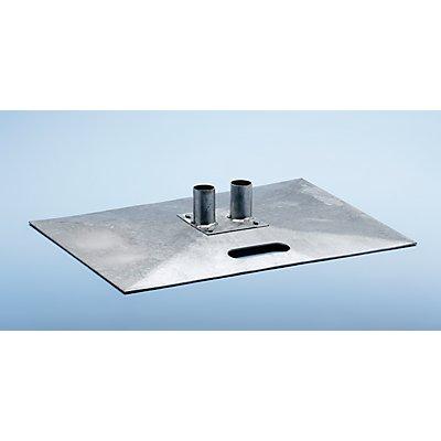 Schake Stahl-Fußplatte, verzinkt - für Mobilzaun - Länge x Breite 700 x 500 mm