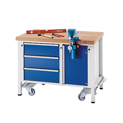 ANKE Montagewerkbank - fahrbar, mit 3 Schubladen und Schraubstock - Breite 1270 mm
