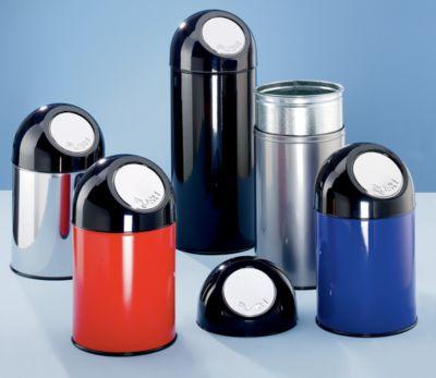 PUSH Abfallsammler - ohne Innenbehälter, aus Stahlblech, Volumen 40 Liter