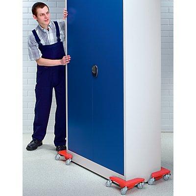 Transportrolly im handlichen Kunststoffkoffer - aus Stahlblech, für Lasten ohne Beine - Tragfähigkeit 150 kg je Stk, VE 4 Stk