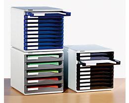 Leitz Blocs-tiroirs - kit de rangement pour courrier et formulaires, coloris bâti gris - coloris tiroirs bleu, 10 tiroirs