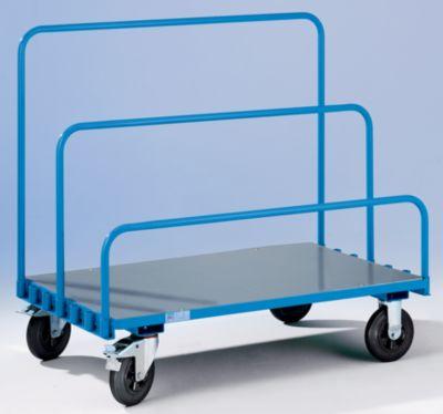 EUROKRAFT Platten-Transportwagen ohne Bügel - Zinkblechladefläche 1250 x 800 mm - Tragfähigkeit 500 kg, Bügelabstand 90 mm
