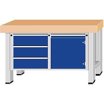 Schwerlast-Werkbank - Plattenbreite 1500 mm, mit 3 Schubladen und 1 Flügeltür