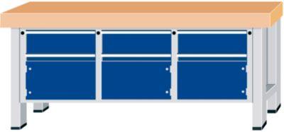 Schwerlast-Werkbank - Plattenbreite 2250 mm, mit 3 Schubladen und 3 Flügeltüren