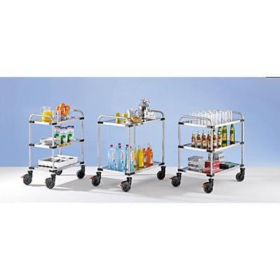 Rieber Edelstahl-Tischwagen VARITHEK SERVO+ - LxBxH 700 x 470 x 950 mm, Ladefläche 630 x 400 mm - 3 Etagen, Tragfähigkeit 150 kg