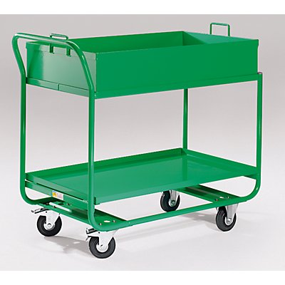 EUROKRAFT ACTIVE GREEN Tischwagen - mit Wanne, abnehmbar