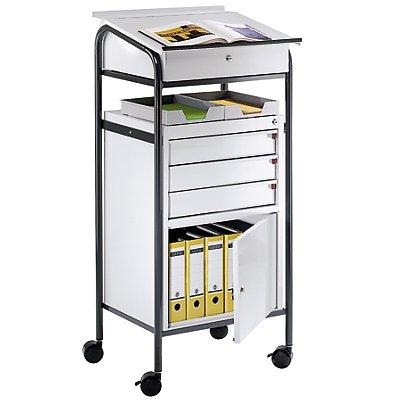 EUROKRAFT Werkstattpult - mit Schrank und 3 Schubladen, Schubladenhöhe 80 mm