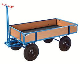 EUROKRAFT Chariot à avant-train pivotant - force 500 kg, avec 4 ridelles