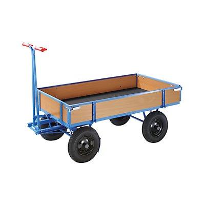 EUROKRAFT Handpritschenwagen - Tragfähigkeit 1000 kg, mit 4 Bordwänden