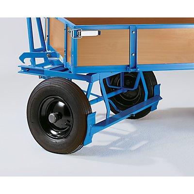 EUROKRAFT Handpritschenwagen - Tragfähigkeit 500 kg, mit 4 Stahlrohrwänden - Ladefläche 1170 x 720 mm, Luftreifen