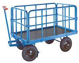 EUROKRAFT Handpritschenwagen - Tragfähigkeit 500 kg, mit 4 Stahlrohrwänden
