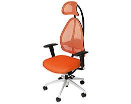 Topstar Siège de bureau design avec appuie-tête et dossier à mailles - dossier hauteur 830 mm