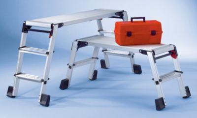 Aluminium-Arbeitsplattform - klappbar, mit Sicherheitsverriegelung - beidseitig 3 Stufen