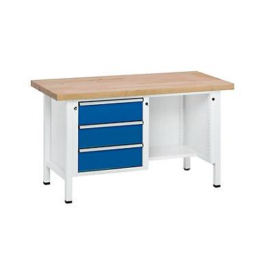 ANKE Werkbank, stabil, 3 Schubladen, ½ Ablageboden, Arbeitshöhe 890 mm