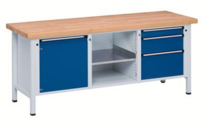 Werkbank, stabil - 1 Tür 540 mm, 3 Schubladen