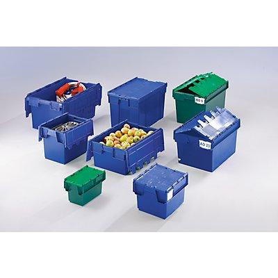 Mehrweg-Stapelbehälter mit Klappdeckel - Inhalt 80 Liter, Außenmaße LxBxH 710 x 460 x 368 mm