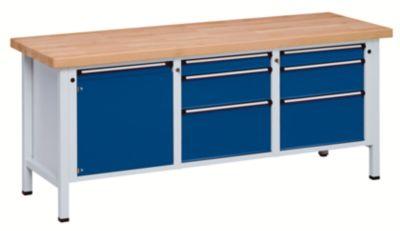 Werkbank, stabil - 1 Tür 540 mm, 6 Schubladen