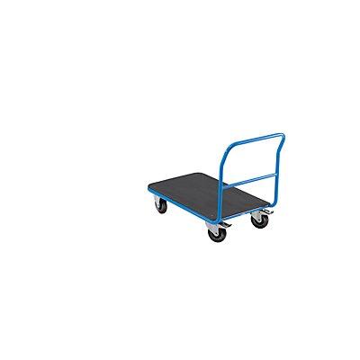 EUROKRAFT Plattform-Magazinwagen - mit festem Schiebebügel - Ladefläche MDF-Platte