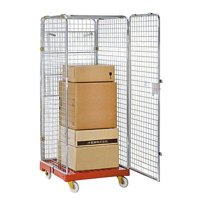 Rollbehälter, allseitig geschlossen - Nutzhöhe 1585 mm - Kunststoffbodenplatte, Etagenboden klappbar
