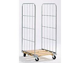 Rollbehälter mit Gitterwänden - Holz-Rollplatte, 2-seitig - HxB 1520 x 720 mm