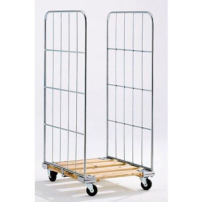 Rollbehälter mit Gitterwänden - Holz-Rollplatte, 2-seitig - HxB 1520 x 640 mm