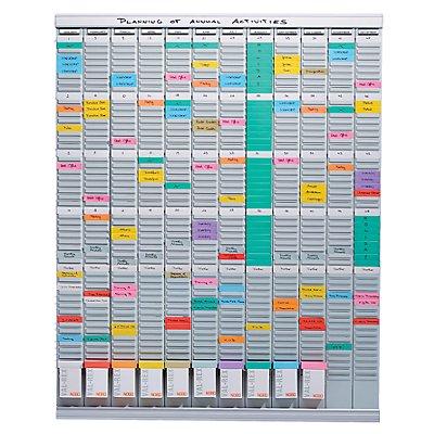 T-Kartenplaner, Jahresplaner - 12 Module mit je 54 Schlitzen - mit 1000 T-Karten in 10 Farben