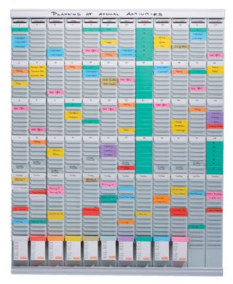 T-Kartenplaner, Jahresplaner - 12 Module mit je 54 Schlitzen mit 1000