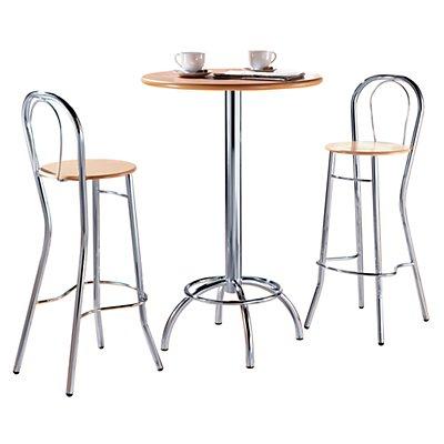 FRIWA Barhocker mit Lehne - Sitzfläche Buche, Gestell verchromt - Sitzhöhe 770 mm