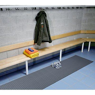Bodenmatte für Dusch- und Umkleideraum - Weich-PVC, 10 m Rolle - Breite 1200 mm, grau