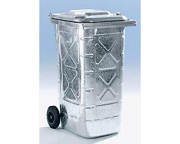 Conteneur à déchets en tôle d'acier galvanisée à chaud - conforme à la norme DIN EN 840, mobile