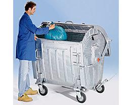 Müllgroßbehälter, verzinkt - Volumen 1100 l - mit Kindersicherung, fahrbar, ab 5 Stk