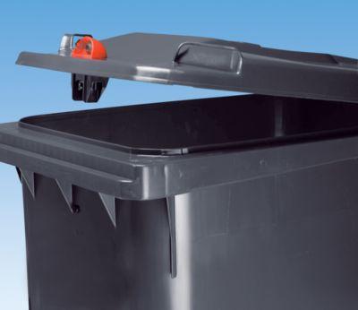 Großmülltonne aus Kunststoff mit Schwerkraftschloss - Volumen 240 l, HxBxT 1067 x 580 x 730 mm