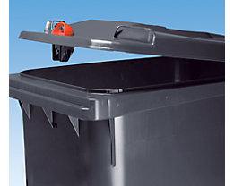 Großmülltonne aus Kunststoff mit Schwerkraftschloss - Volumen 120 l, HxBxT 933 x 482 x 552 mm - braun