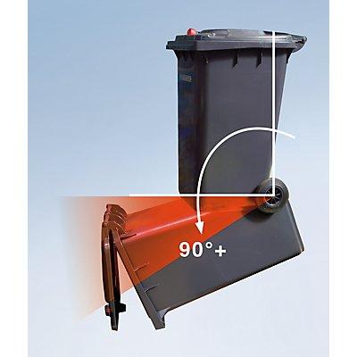 Conteneur à déchets en plastique à fermeture par gravité - capacité 360 l, h x l x p 1100 x 600 x 874 mm, Ø roues 200 mm