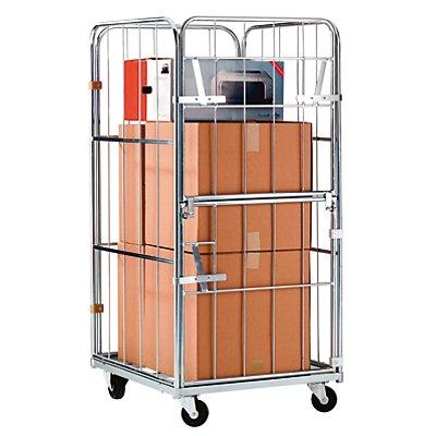 RIMO Rollbehälter, Vorderwand abklappbar und aufschwenkbar - Außenmaße HxBxT 1520 x 720 x 810 mm - Gitterhöhe 1350 mm