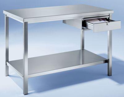Edelstahl-Werkbank - 1 Schublade, 1 Fachboden voll - Breite 1200 mm
