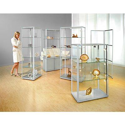 office akktiv Design-Vitrine - halbhoch, Höhe 1280 mm - mit NV-Beleuchtung