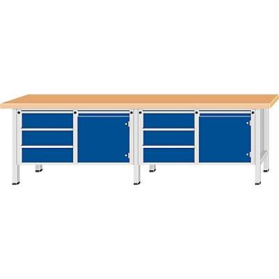 ANKE Werkbank, extrabreit - 2 Türen, 6 Schubladen mit Teilauszug